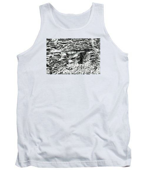 Window View Of Sope Creek In Black And White Tank Top by James Potts