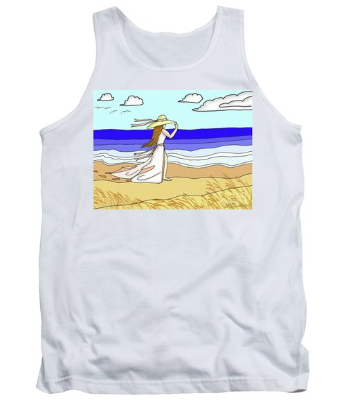 Windy Day At The Beach Tank Top by Patricia L Davidson