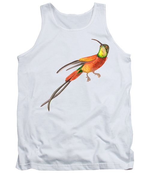 Winged Jewel 6, Watercolor Tropical Rainforest Hummingbird Red, Yellow, Orange And Green Tank Top