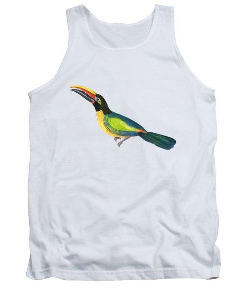 Winged Jewels 2, Watercolor Toucan Rainforest Birds Tank Top