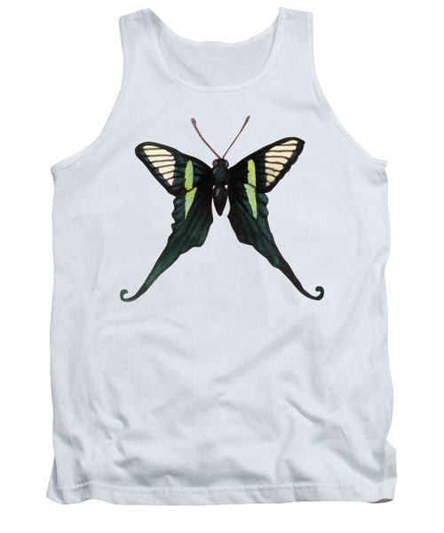 Winged Jewels 3, Watercolor Tropical Butterfly With Curled Wing Tips Tank Top