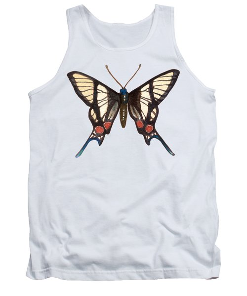 Winged Jewels 4, Watercolor Tropical Butterflie Black White Red Spots Tank Top