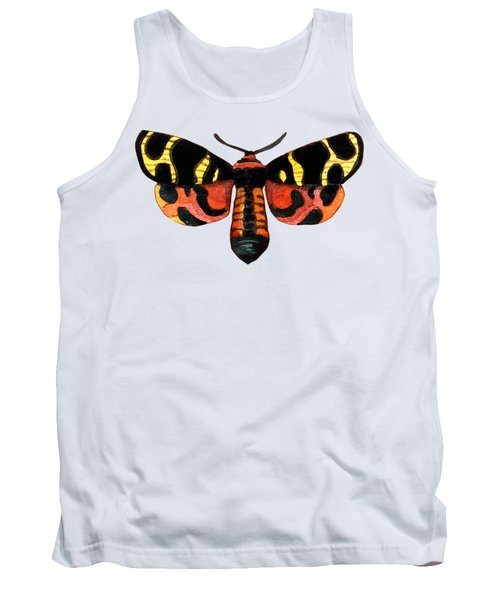Winged Jewels 5, Watercolor Moth Black Yellow Orange And Red Tropical Tank Top
