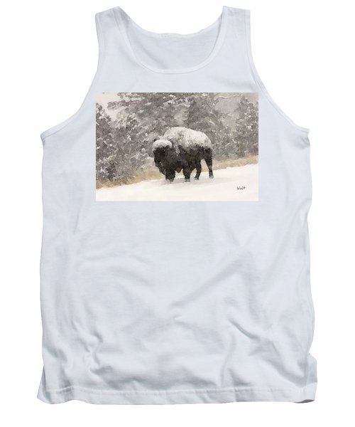 Tank Top featuring the digital art Winter Bison by Walter Chamberlain