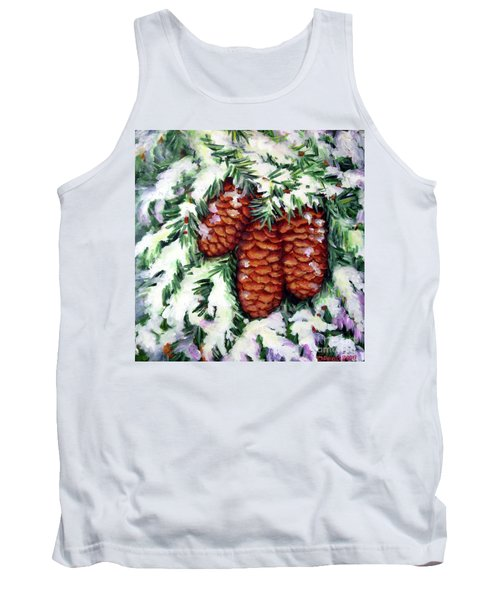 Winter Fir Cones Tank Top by Inese Poga