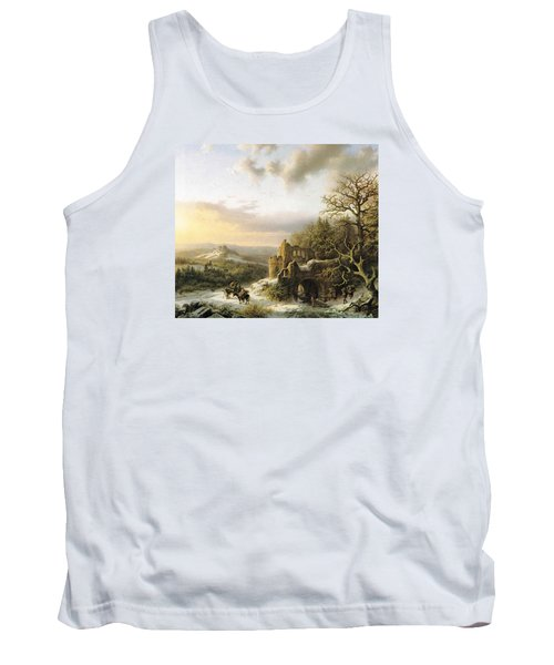 Winter Landscape With Peasants Gathering Wood Tank Top by Reynold Jay