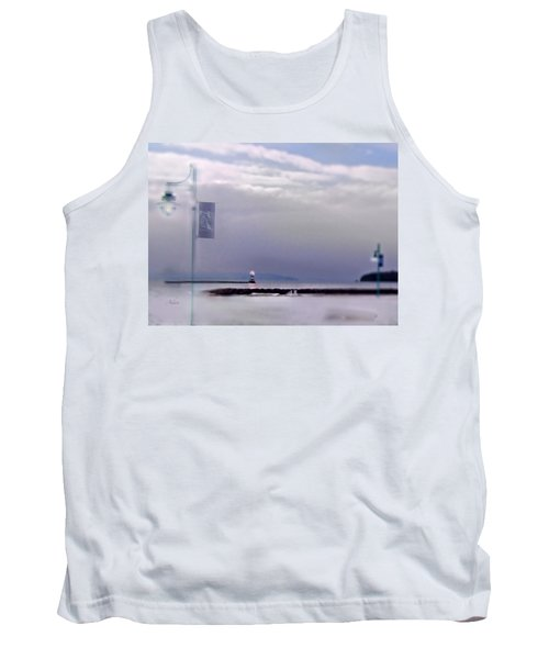 Winter Lights To Rock Point Digital Painting Of Evening Sentries At The Coast Guard Station Tank Top