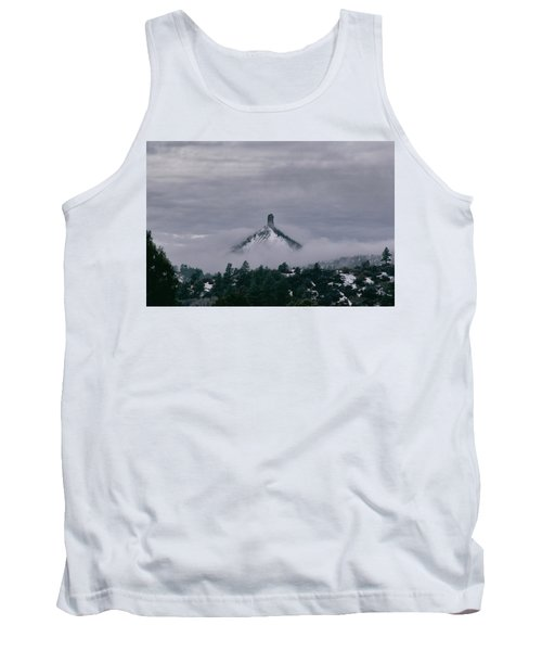 Winter Morning Fog Envelops Chimney Rock Tank Top