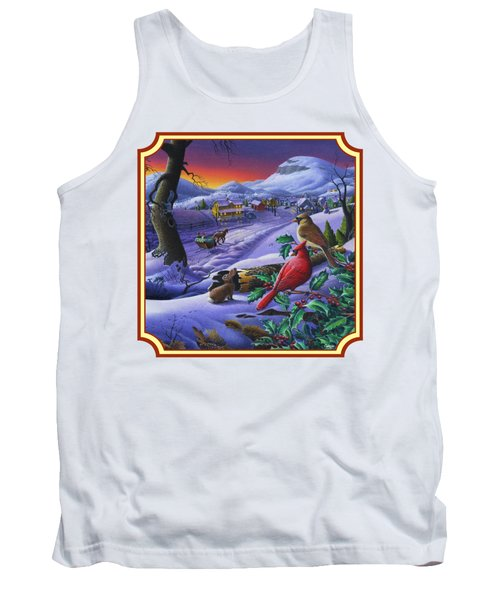 Winter Mountain Landscape - Cardinals On Holly Bush - Small Town - Sleigh Ride - Square Format Tank Top