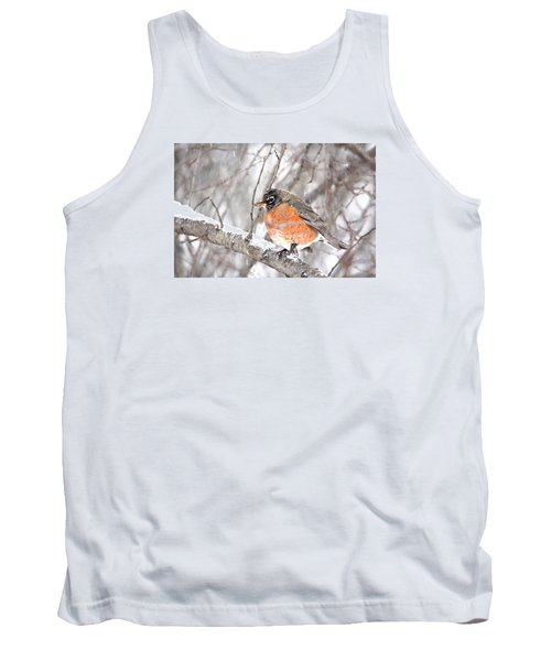 Tank Top featuring the photograph Winter Robin by Trina Ansel