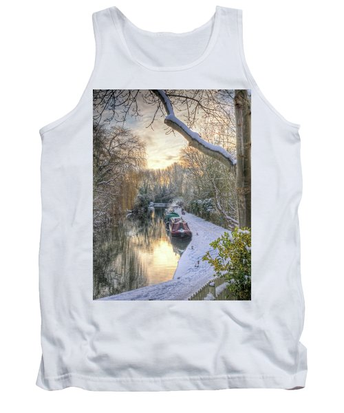 Winter Sunset On The River Tank Top