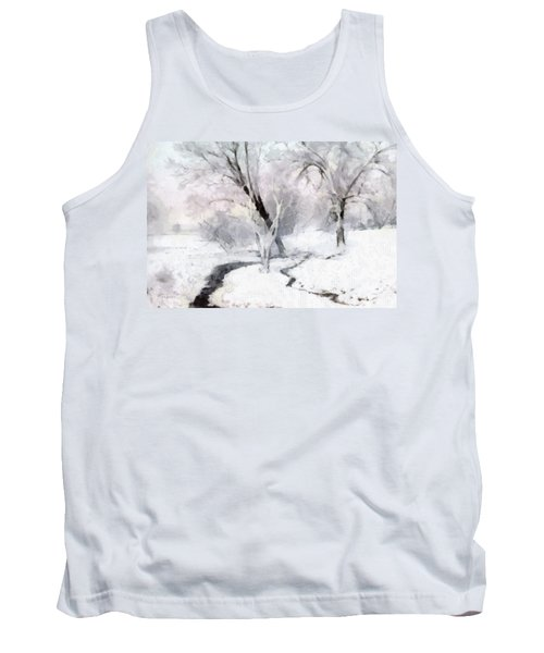 Tank Top featuring the digital art Winter Trees by Francesa Miller