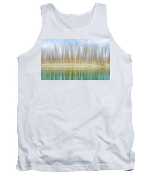 Winter Trees On A River Bank Reflecting Into Water Tank Top