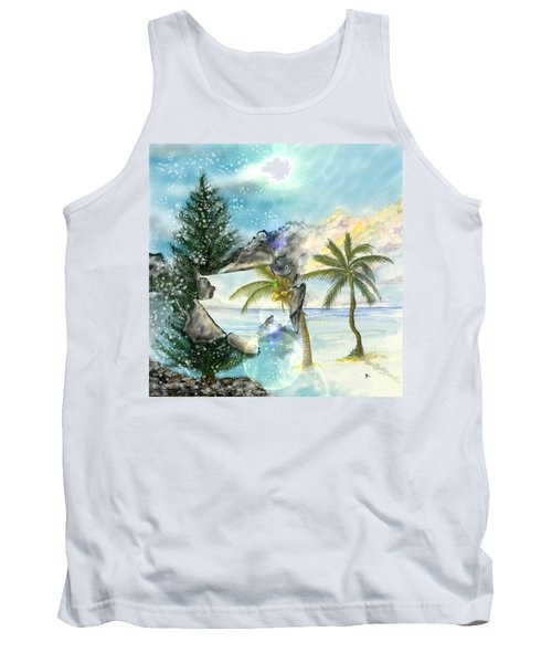 Tank Top featuring the digital art Winter Vacation by Darren Cannell
