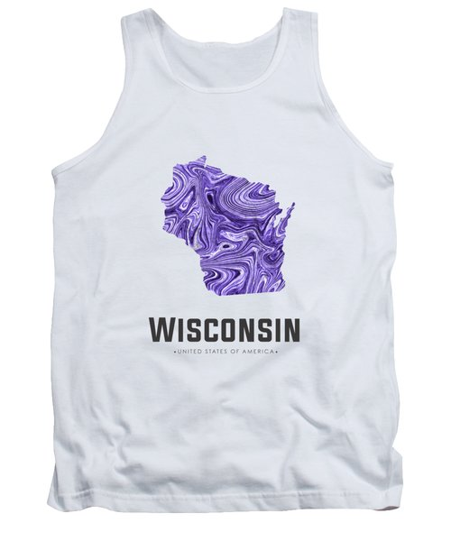 Wisconsin Map Art Abstract In Violet Tank Top