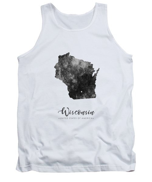 Wisconsin State Map Art - Grunge Silhouette Tank Top
