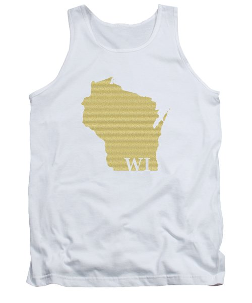 Wisconsin State Map With Text Of Constitution Tank Top