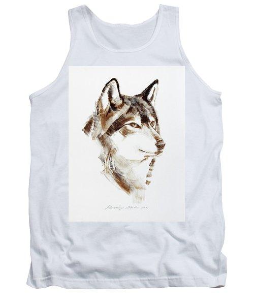 Wolf Head Brush Drawing Tank Top