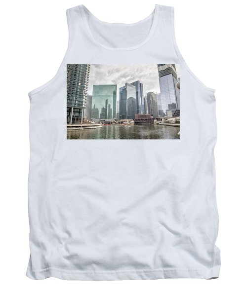 Wolf Point Where The Chicago River Splits Tank Top by Peter Ciro