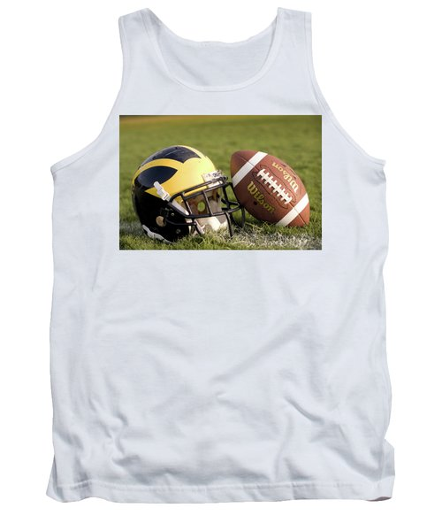 Wolverine Helmet With Football On The Field Tank Top