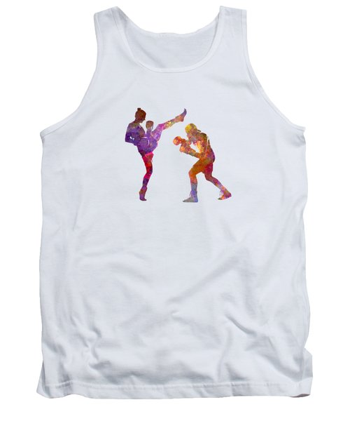 Woman Boxwe Boxing Man Kickboxing Silhouette Isolated 01 Tank Top