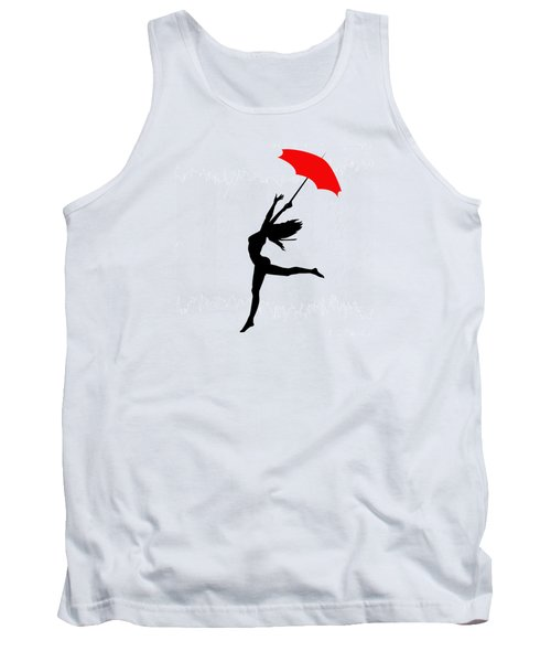Woman Dancing In The Rain With Red Umbrella Tank Top by Serena King