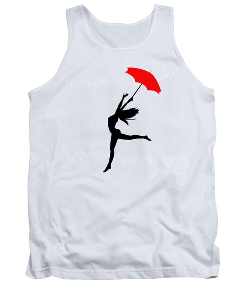 Woman Dancing In The Rain With Red Umbrella Tank Top