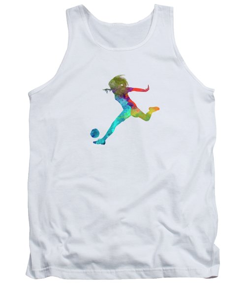 Woman Soccer Player 01 In Watercolor Tank Top