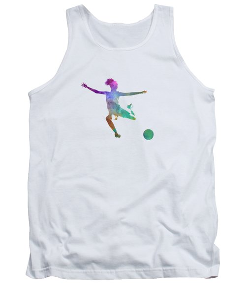 Woman Soccer Player 03 In Watercolor Tank Top