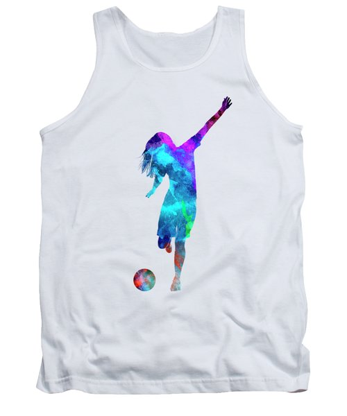 Woman Soccer Player 05 In Watercolor Tank Top