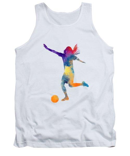 Woman Soccer Player 07 In Watercolor Tank Top