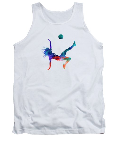 Woman Soccer Player 08 In Watercolor Tank Top
