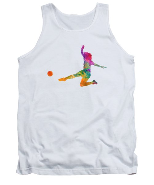 Woman Soccer Player 11 In Watercolor Tank Top