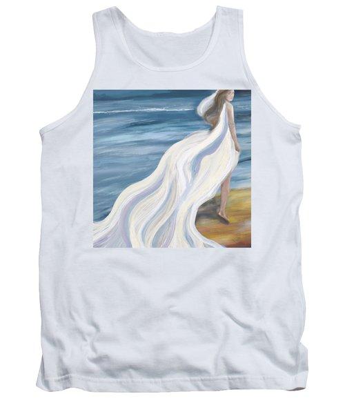 Woman Strolling On The Beach Tank Top
