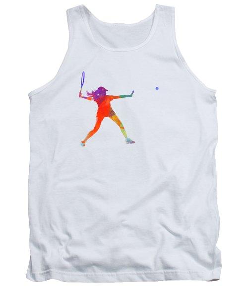 Woman Tennis Player 01 In Watercolor Tank Top