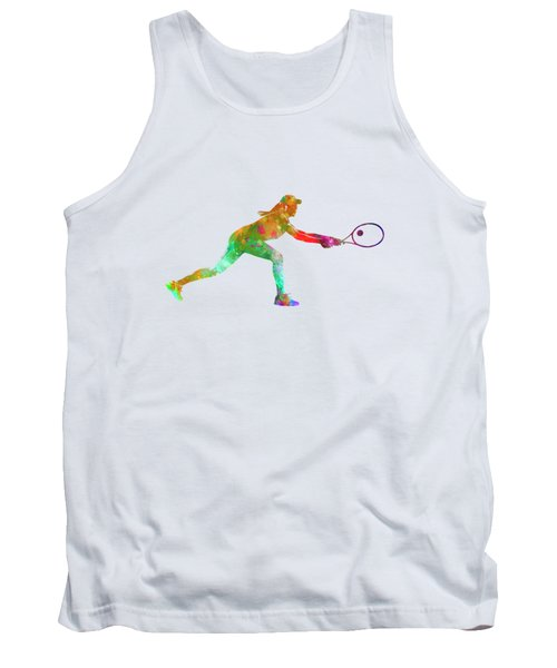 Woman Tennis Player Sadness 02 In Watercolor Tank Top
