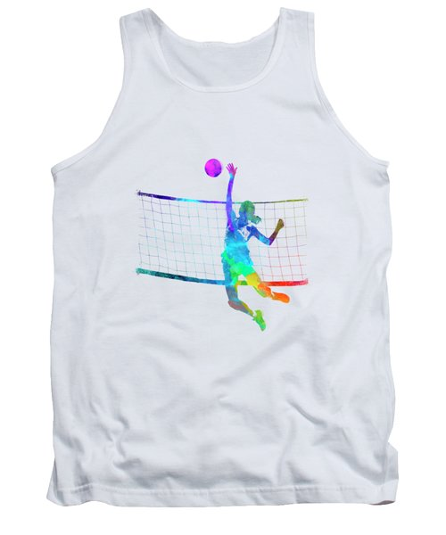 Woman Volleyball Player In Watercolor Tank Top