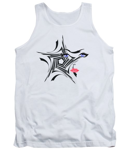 Woman With Star Design Tank Top by Christine Perry