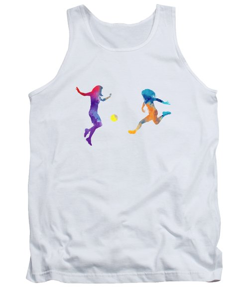 Women Soccer Players 01 In Watercolor Tank Top