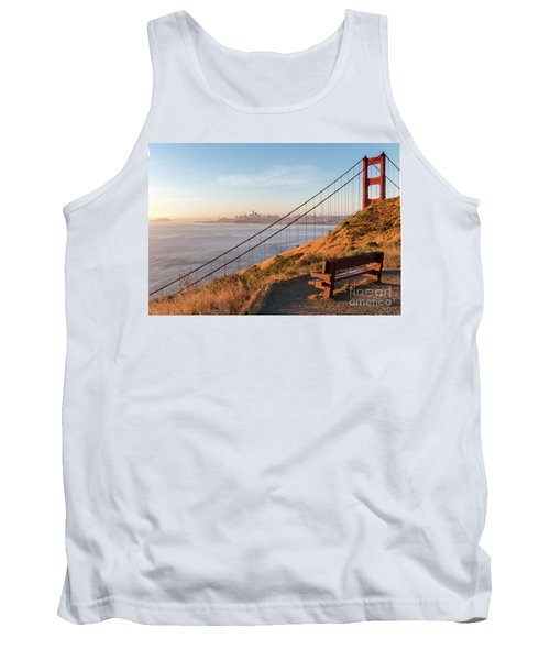 Wooden Bench Overlooking Downtown San Francisco With The Golden  Tank Top