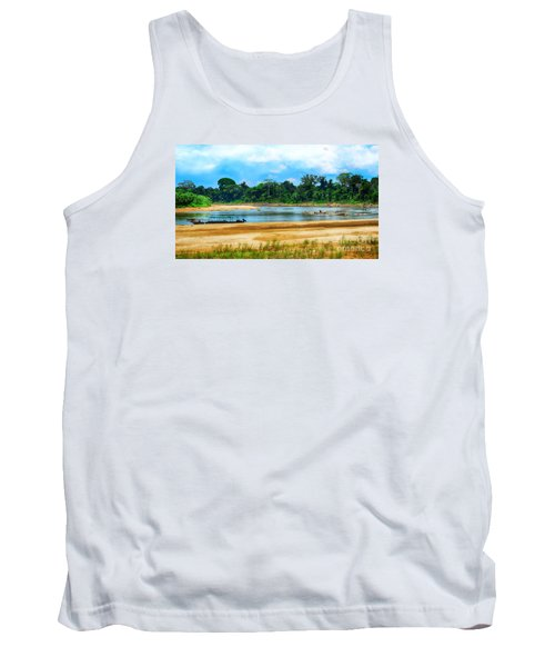 Wooden Boat In Backwaters Jungle Tank Top