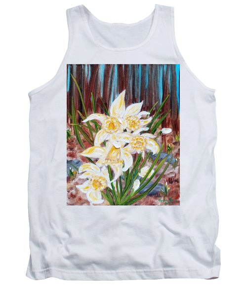 Tank Top featuring the painting Woodland Daffodils by Judith Rhue
