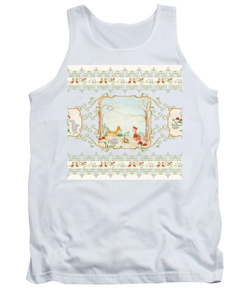 Woodland Fairy Tale - Blush Pink Forest Gathering Of Woodland Animals Tank Top