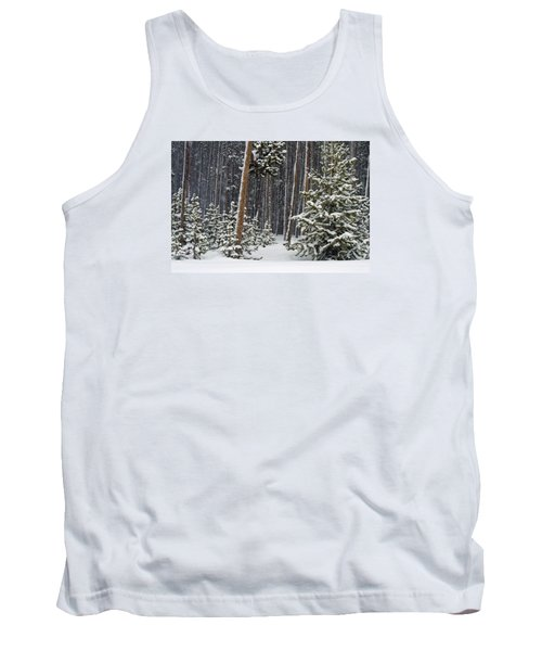 Woodland Snowstorm In Yellowstone Tank Top