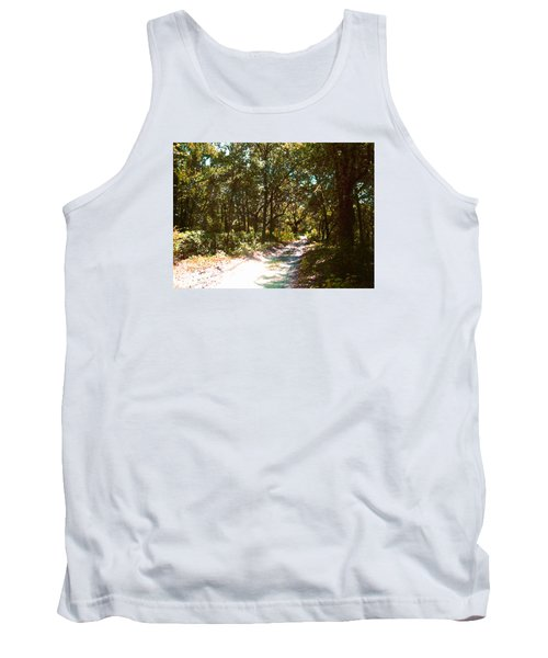 Tank Top featuring the photograph Woodsy Trail by Ginny Schmidt
