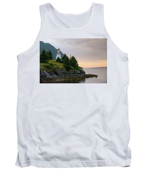 Woody Point Lighthouse - Bonne Bay Newfoundland At Sunset Tank Top