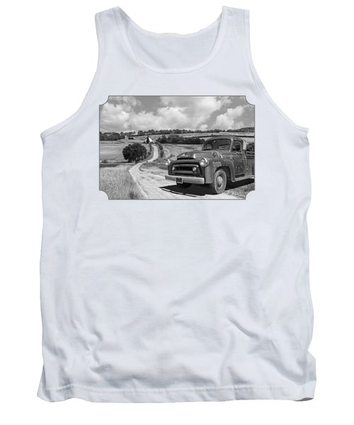 Down On The Farm- International Harvester In Black And White Tank Top