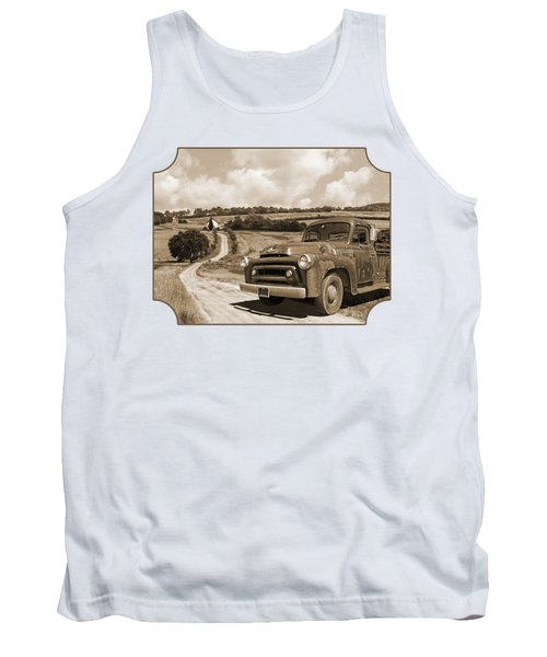 Down On The Fram - International Harvester In Sepia Tank Top
