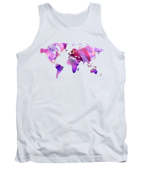 World Map 20 Pink And Purple By Sharon Cummings Tank Top