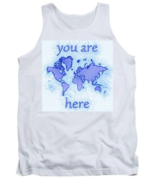 World Map Airy You Are Here In Blue And White Tank Top by Eleven Corners